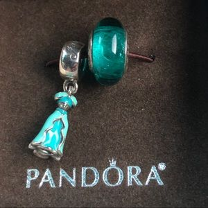PANDORA Disney Jasmine Dress & Murano Bead, NIB!